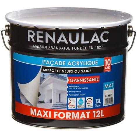 RENAULAC Peinture façade acrylique monocouche - Blanc - Garantie 10 ans - 12L - 100m² / pôt