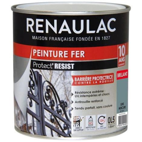 RENAULAC Peinture Fer Gris Mercure - Brillant - Garantie 10 ans - 0,5L - 8m² / pôt