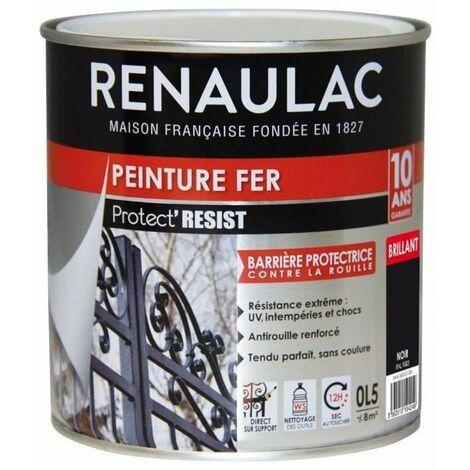 RENAULAC Peinture Fer Noir - Brillant - Garantie 10 ans - 0,5L - 8m² / pôt