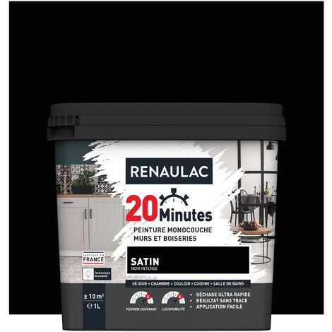 RENAULAC Peinture intérieur couleur monocouche 20 Minutes multi-supports - Noir intense Satin - 2,5L - 25m² - NOIR INTENSE