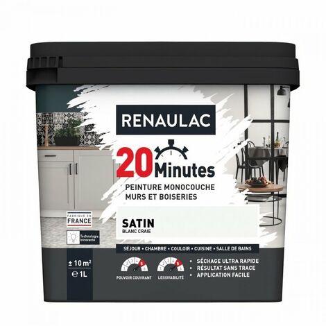 RENAULAC Peinture intérieur monocouche 20 Minutes murs et boiseries - 1L - 10 m² - Blanc craie Satin
