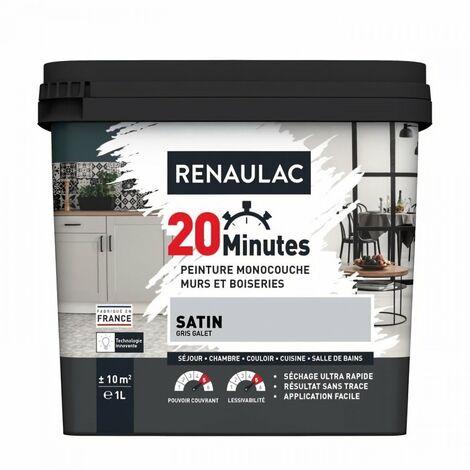 RENAULAC Peinture intérieur monocouche 20 Minutes murs et boiseries - 1L - 10 m² - Gris galet Satin