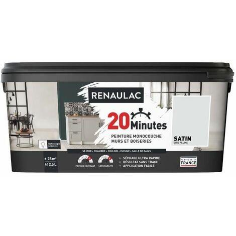 RENAULAC Peinture intérieur monocouche 20 Minutes murs et boiseries - 2,5L - 25 m² - Gris plume Satin