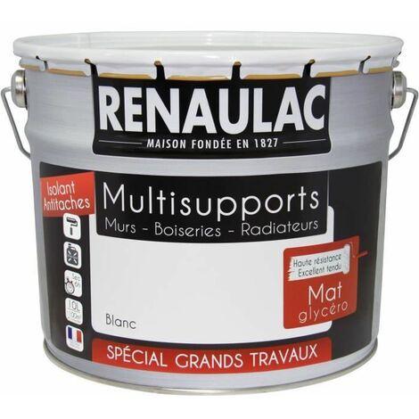 RENAULAC Peinture interieur Multisupports Glycero Blanc - Mat - 10L -100m2 / pot