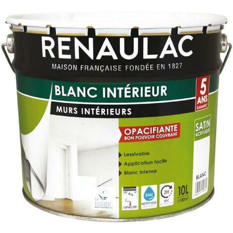 RENAULAC Peinture intérieur Murs & Plafonds Bicouche Acrylique Blanc - Satin - 10L - 100m² / pôt