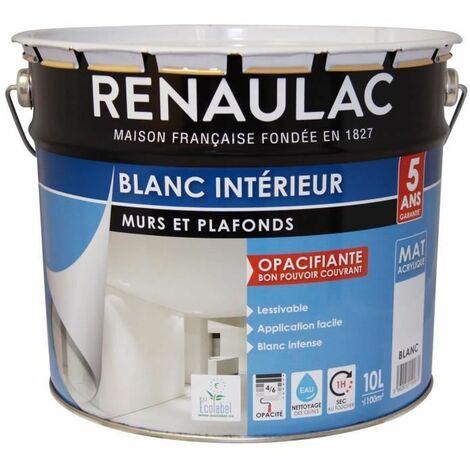 RENAULAC Peinture murs et plafonds acrylique - 10 L - Blanc mat lessivable