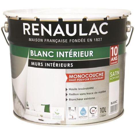 RENAULAC PEINTURE MURS ET PLAFONDS MONOCOUCHE ACRYLIQUE 10 L SATIN BLANC DC-RE-ZAP-000-10L