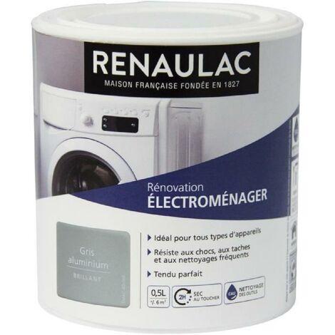RENAULAC Peinture Rénovation Electroménager Gris Aluminium - Brillant - 0.5L - 6m²/ pôt