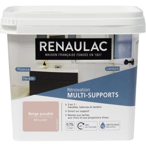 RENAULAC Peinture Rénovation Multisupports 3 en 1 Beige Poudré - Brillant - 0.75L - 9m² / pôt