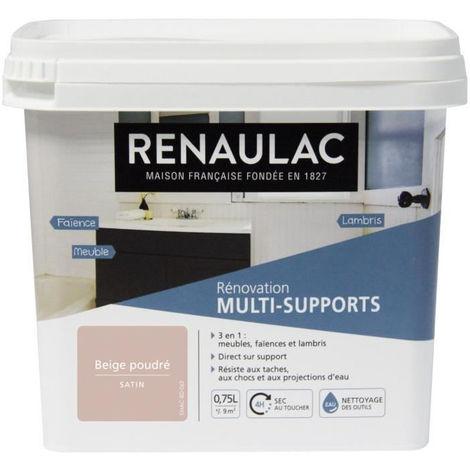 RENAULAC Peinture Rénovation Multisupports 3 en 1 Beige Poudré - Satin - 0,75L - 9m² / pôt