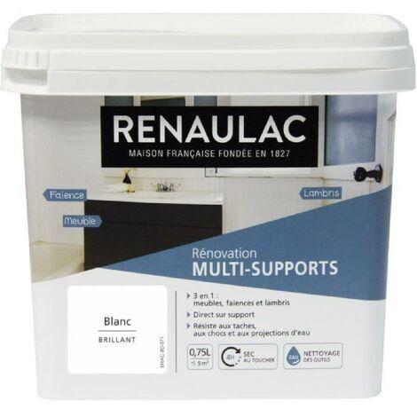 RENAULAC Peinture Rénovation Multisupports 3 en 1 Blanc - Brillant - 0.75L - 9m² / pôt