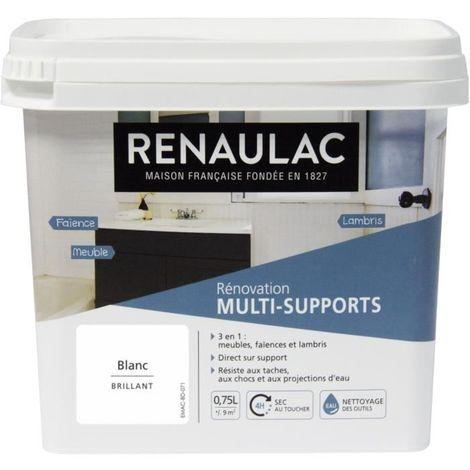 RENAULAC PEINTURE RÉNOVATION MULTISUPPORTS 3 EN 1 BLANC - BRILLANT - 0,75L - 9M² PÔT