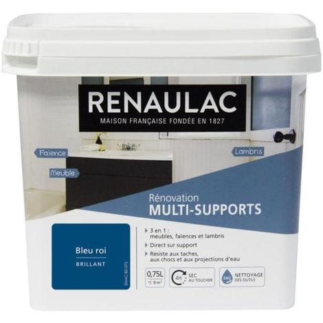 RENAULAC Peinture Rénovation Multisupports 3 en 1 Bleu Roi - Brillant - 0,75L - 9m² / pôt