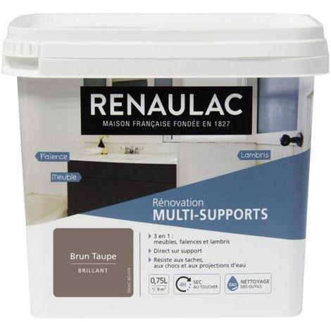 RENAULAC Peinture Rénovation Multisupports 3 en 1 Brun Taupe - Brillant - 0,75L - 9m² / pôt