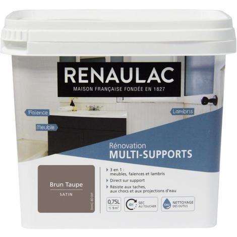 RENAULAC Peinture Rénovation Multisupports 3 en 1 Brun Taupe - Satin - 0.75L - 9m² / pôt