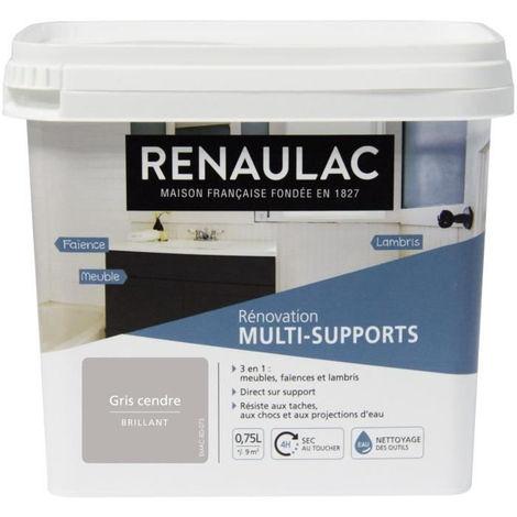 RENAULAC Peinture Rénovation Multisupports 3 en 1 Gris Cendre - Brillant - 0,75L - 9m² / pôt
