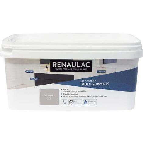 RENAULAC Peinture Rénovation Multisupports 3 en 1 Gris Cendre - Satin - 2L - 24m² / pôt
