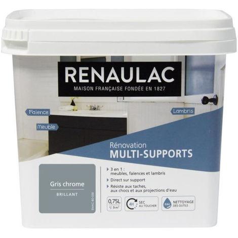 RENAULAC Peinture Rénovation Multisupports 3 en 1 Gris Chrome - Brillant - 0,75L - 9m² / pôt