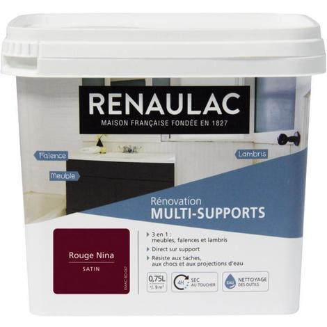 RENAULAC Peinture Rénovation Multisupports 3 en 1 Rouge Nina - Satin - 0.75L - 9m² / pôt