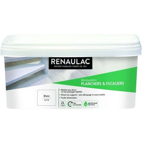 RENAULAC Peinture Rénovation Plancher & Escalier Blanc - Satin - 2L - 24m²/ pôt