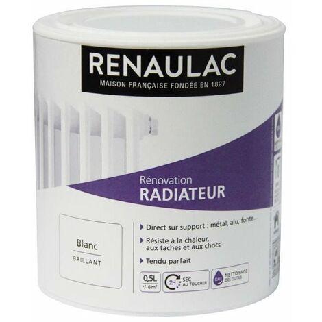 RENAULAC Peinture Rénovation Radiateur Blanc - Brillant - 0,5L - 6m²/ pôt