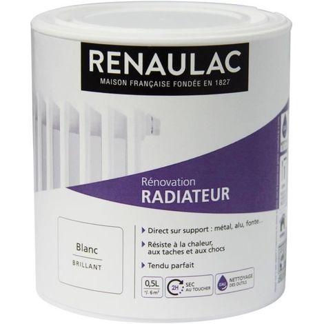 RENAULAC PEINTURE RÉNOVATION RADIATEUR BLANC - BRILLANT - 0,5L - 6M²/ PÔT C-RERENORAD-000-0L5