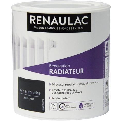 RENAULAC Peinture Rénovation Radiateur Gris Anthracite - Brillant - 0.5L - 6m²/ pôt