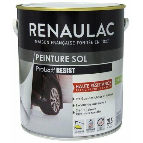 RENAULAC Peinture Sol Blanc - Satin - 2,5L - 35m² / pot