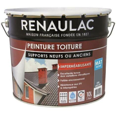Renaulac Peinture Spéciale Toiture Gris Ardoise - 10L - 70m² / pot