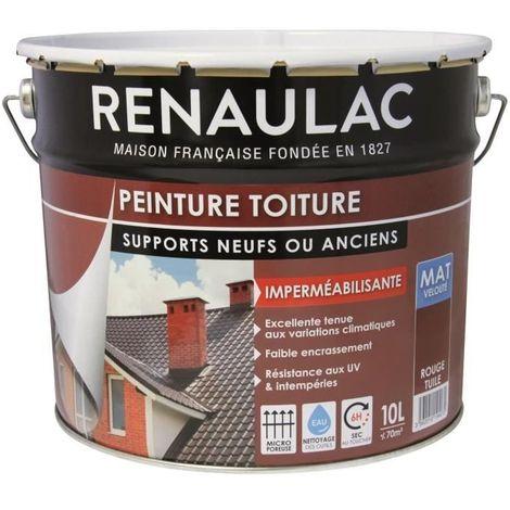 RENAULAC PEINTURE SPÉCIALE TOITURE ROUGE TUILE - 10L - 70M² POT