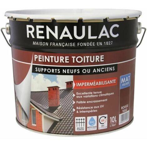 Renaulac Peinture Speciale Toiture Rouge Tuile - 10L - 70m2 / pot