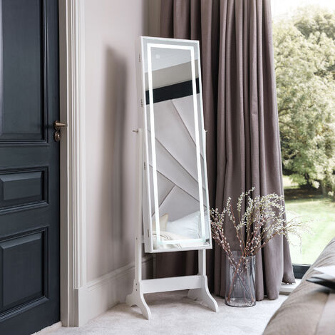 Renee White Standing Full Length Mirror Jewellery Cabinet with Touch Sensor LED Lights For Bedroom Storage Organiser