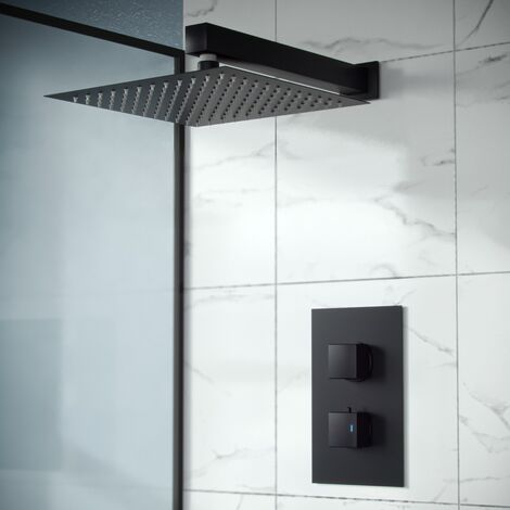 """main image of """"Rennes Concealed Thermostatic Overhead 200mm Square Rainfall Shower Mixer Set Matte Black"""""""