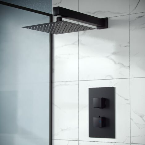 Rennes Concealed Thermostatic Overhead 250mm Square Rainfall Shower Mixer Set Matte Black