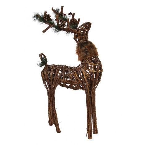 Reno de Mimbre para Navidad con elementos Navideños. Diseño Original/Piñas 38X16X60 cm.-Hogarymas-