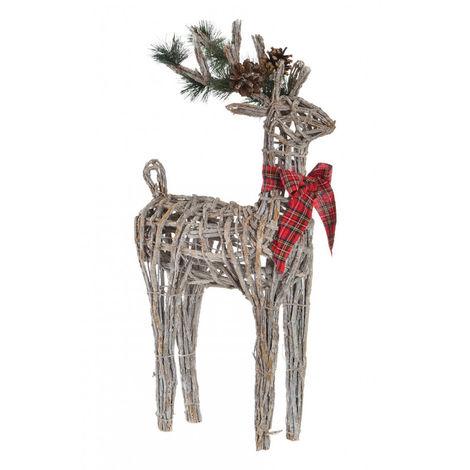 Reno de Mimbre para Navidad con elementos Navideños y Lazo Decorativo. Diseño Original 33X14X60 cm.-Hogarymas-
