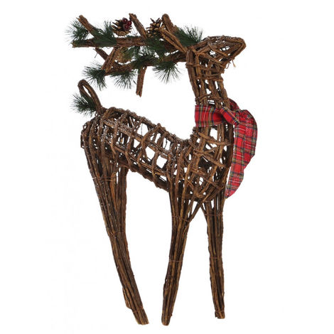 Reno de Mimbre para Navidad con elementos Navideños y Lazo Decorativo. Diseño Original 37X12X60 cm.-Hogarymas-