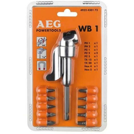 Renvoi d'angle WB1 et 10 embouts de vissage AEG 4932430173