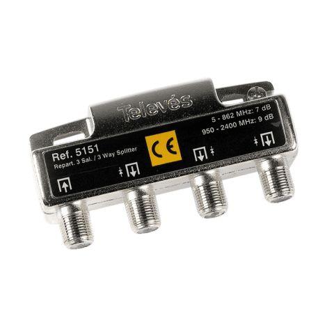 Repartidor distribuidor 3 salidas 7/9 dB Gris