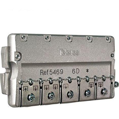 Repartidor distribuidor 6 direcciones 11/14 dB Gris