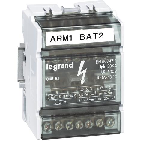Répartiteur mod monobloc - 4P - 100 A - 7 connexions - 4 modules