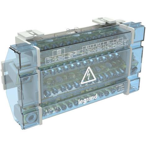 Répartiteur modulaire monobloc tétrapolaire à bornes 160A 15 connexions par barreau 10 modules (004879)