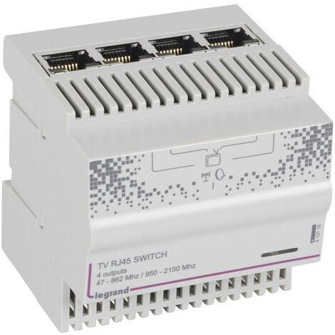 Répartiteur modulaire télévision TNT et satellite 4 sorties RJ45 4 modules (413118)