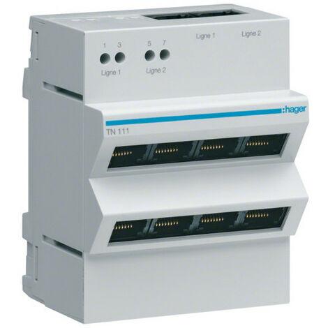 Répartiteur téléphone analogique/RNIS 2x4 sorties RJ45 (TN111)
