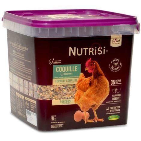 Repas complet spécial ponte pour poules, avec distributeur intégré