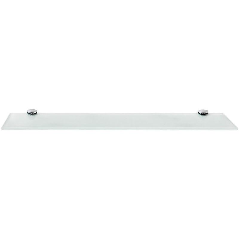 Mucola - Estante flotante de cristal + Montaje estante de baño estante de pared 50x10CM Blanco Soporte para baño estantería pared vidrio estantería