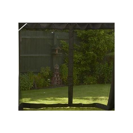 Replacement Black Mosquito Curtains Set For Polycarbonate Gazebo 3 x 3m