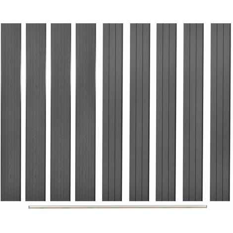 Replacement Fence Boards 9 pcs WPC 170 cm Grey