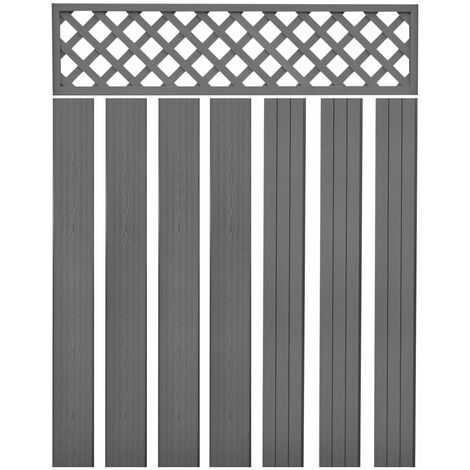Replacement Fence Boards WPC 7 pcs 170 cm Grey