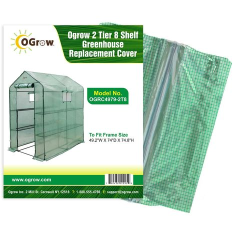 """Replacement Polyethylene Plastic Cover for 2 Tier 8 Shelf Walk In Greenhouse, Garden Grow House - 49"""" W x 74"""" D x 75"""" H - Green"""